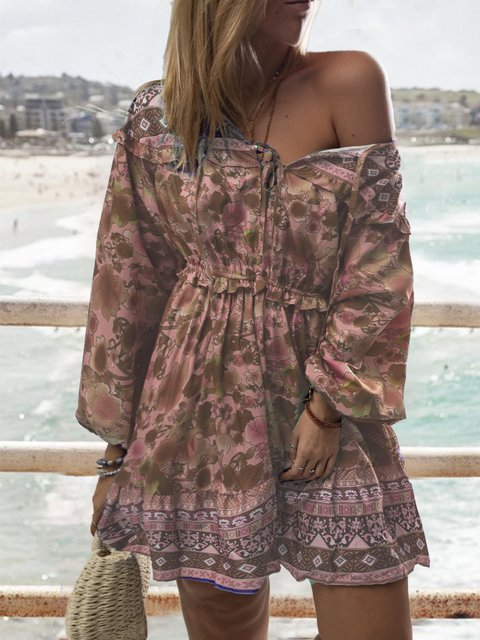 Vintage Women  Off shoulder Floral Holiday Dresses