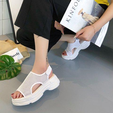 Women Mesh Fabric Magic Tape Summer Sandals