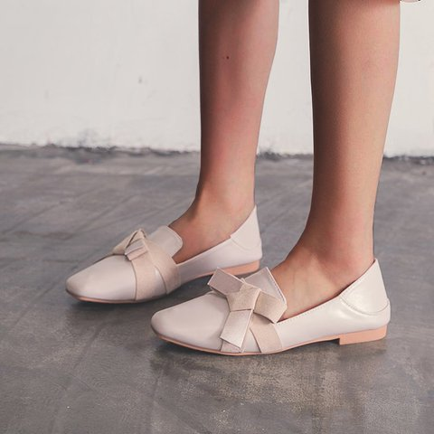 Beige Bowknot Daily Spring Flat Heel Loafers