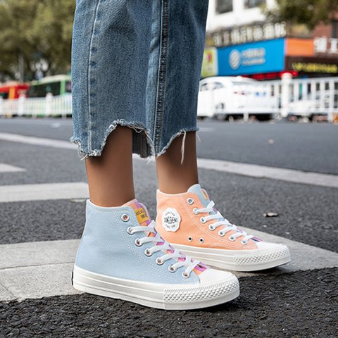 Color-Change High-Top Lace-Up Canvas Shoes
