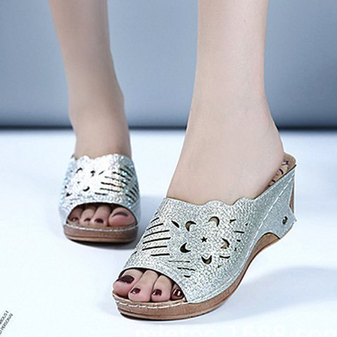 Women Rhinestone Peep Toe Wedge Heel Summer Casual Slippers