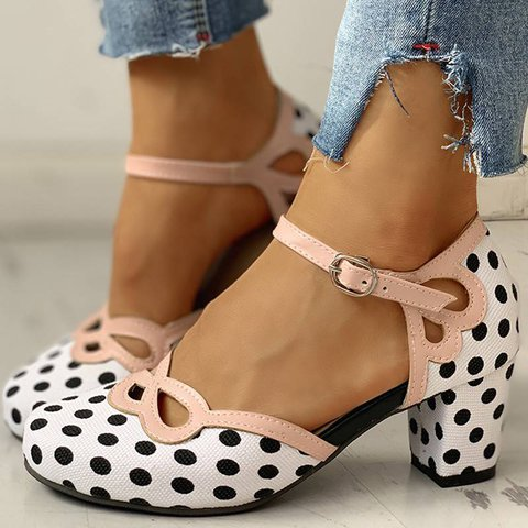 Cutout Polka Dot Chunky Heeled Sandals