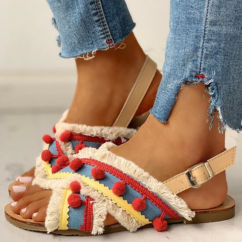 Women Summer Vintage Bohemian Comfy Flat Sandals