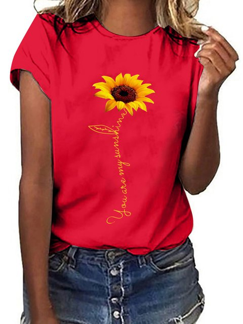 Sunflower Printed Loose Casual T-shirt
