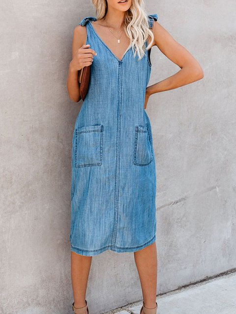 A-Line Casual Spaghetti Denim Dresses