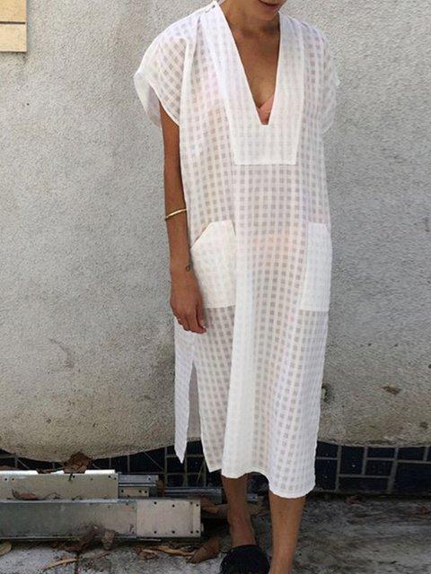 V Neck Jacquard Holiday Geometric Dresses