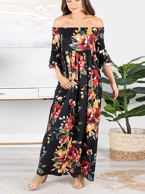 Boho Frill Sleeve Cotton-Blend Dresses