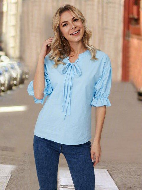 Light Blue Lace-Up Half Sleeve Chiffon Shirts