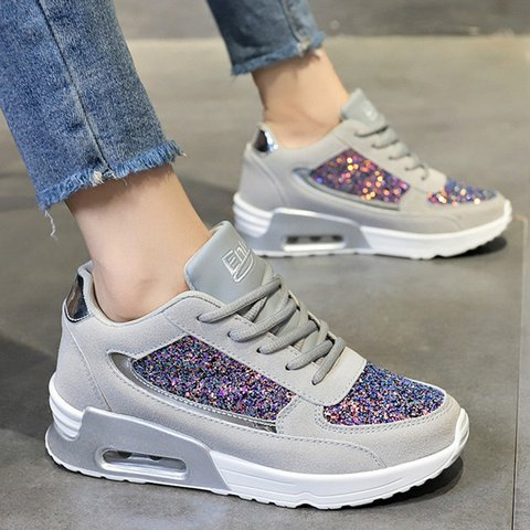 Women Athelic Round Toe Daily Sequin All Season Flat Heel Sneakers