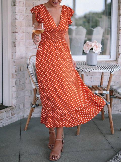 Floral-Print Sweet V Neck Sleeveless Dresses