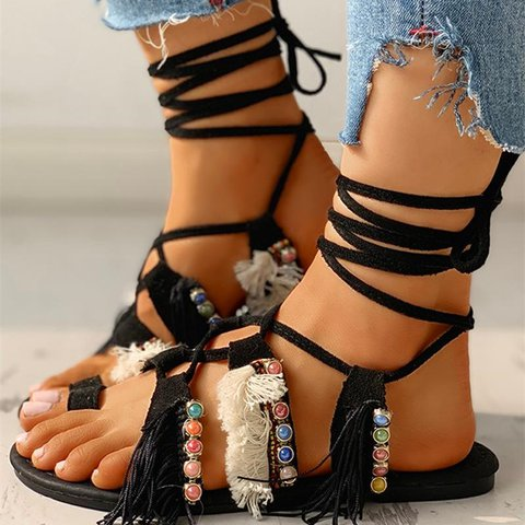 Women Casual Summer Bohemian Lace Up Flat Sandals