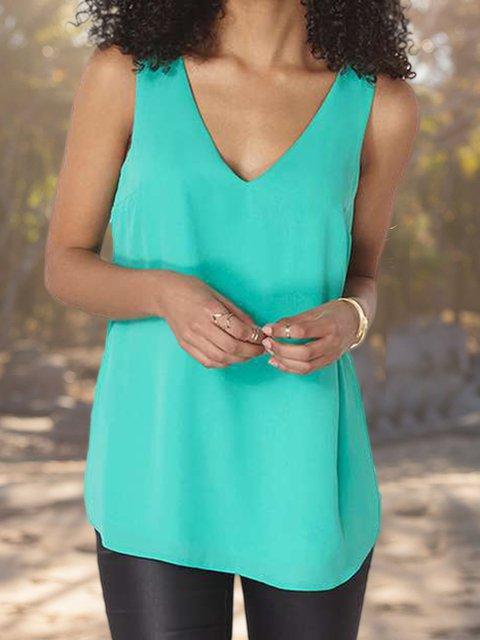 Sleeveless V Neck Backless Casual Shirts & Tops