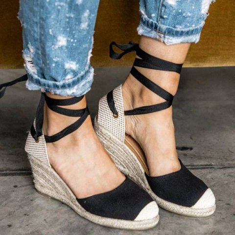 Lace Up Espadrille Wedges In Black