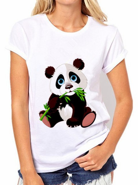Panda Print White Crew Neck Animal Casual Shirts & Tops