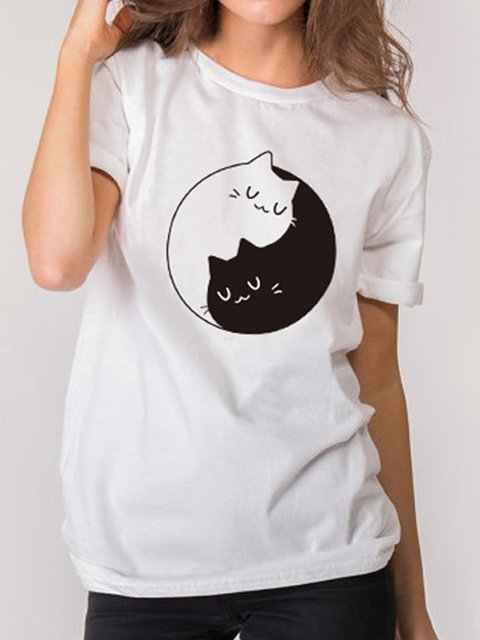 Cat Print Short Sleeve Crew Neck Shirts & Tops