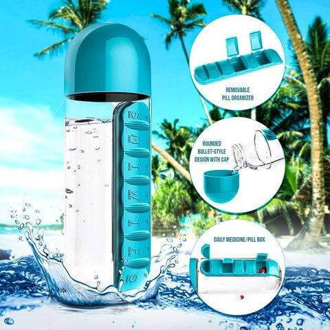 Daily Pill Organizer Water Bottle