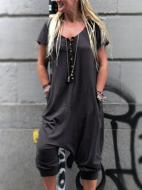 Black Casual Buttoned Round Neck Jumpsuits