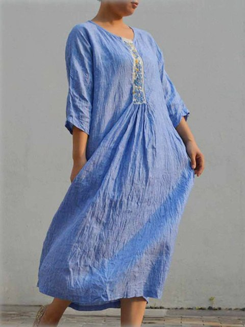 Women Embroidered 3/4 Sleeves Casual Linen Dresses