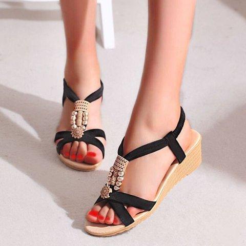 Block Heel Artificial Leather Imitation Pearl Summer Sandals