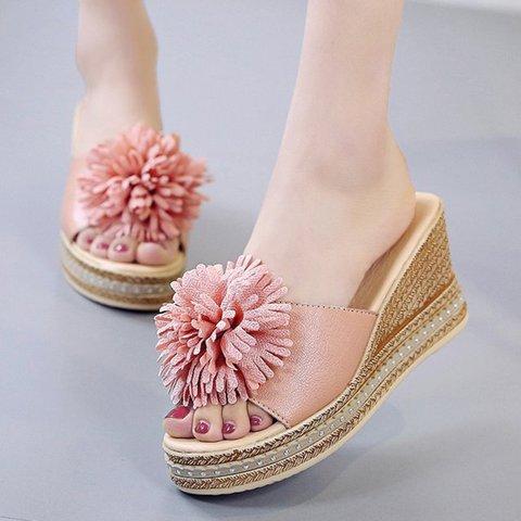 Women PU Flower Casual Summer Wedge Heel Slippers