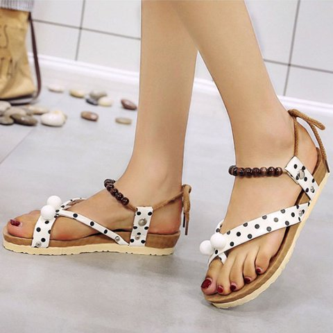 Flat Heel Holiday Artificial Leather Sandals