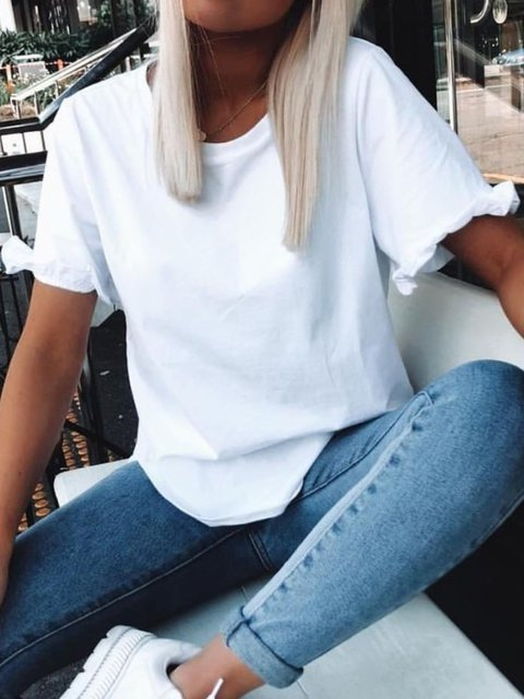 White Casual Solid Ruffled Shirts & Tops