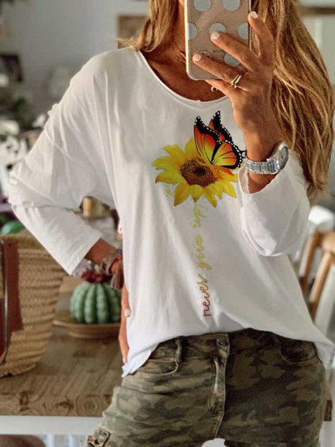 Floral Cotton Casual O-Neck Shirts & Tops