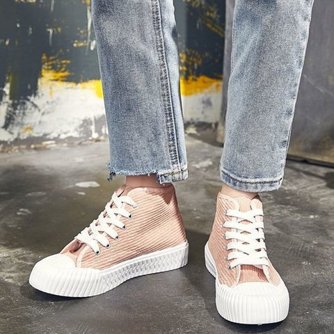 Women Round Toe Flat Heel Lace-Up Sneakers