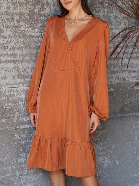 Orange Cotton Casual Dresses