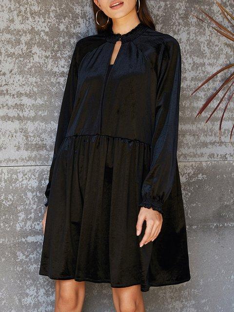 Black Solid Long Sleeve Shift V Neck Dresses