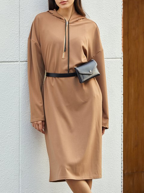 Khaki Shift Long Sleeve Solid Dresses
