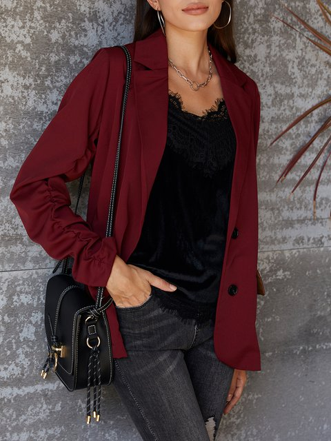 Red Formal Shift Solid Jackets