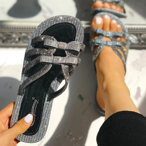 Women Rhinestone Beach Artificial Leather Sandals