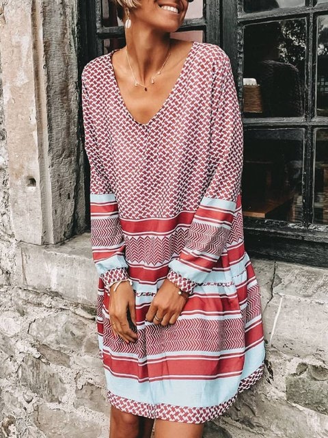 Red Cotton-Blend Long Sleeve Stripes Casual Dresses
