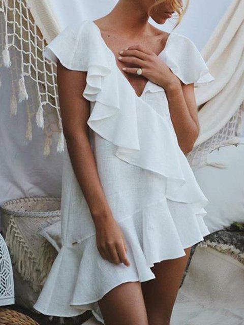 Cotton-Blend Ruffled Frill Sleeve Dresses