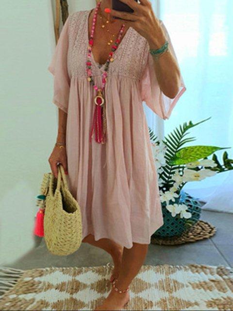 Cotton-Blend Short Sleeve Dresses