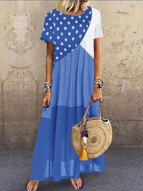 Paneled Short Sleeve Cotton-Blend Shift Dresses