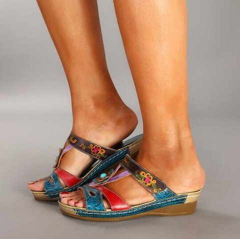 Pi Clue Multicolor Summer Flat Heel Sandals