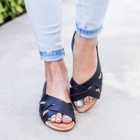 Low Heel Open Toe Slip On Cut Out Casual Gladiator Sandals