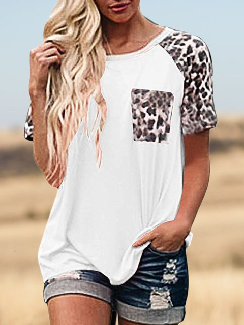 Pockets Casual Leopard Cotton-Blend Shirts & Tops