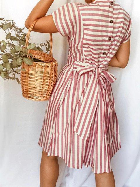 Brick Red Crew Neck Short Sleeve Striped Dresses