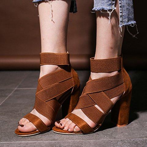 Women Peep Toe Chunky Heel Zipper Summer Pu Sandals