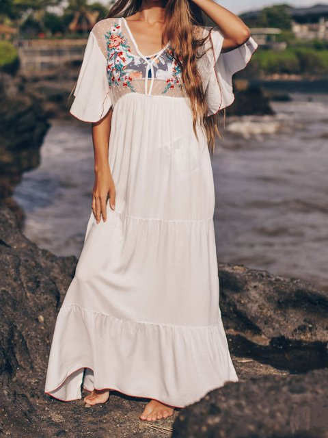 Boho Floral-Embroidered Holiday Dresses