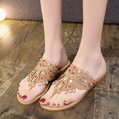 Women Thong Sandals PU Casual Rhinestone Shoes