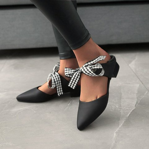 Ribbon Ribbon Bow Pointed Pointed Low Heel Women's Single Shoes