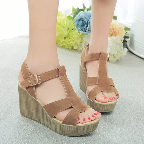 Women PU Peep Toe Casual Wedge Heel Buckle Sandals