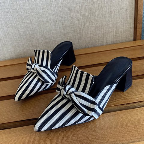 Bowknot Color Block Holiday Summer Slippers