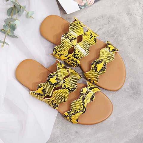 Pi Clue Yellow Summer Animal Print Daily Flat Heel Slippers