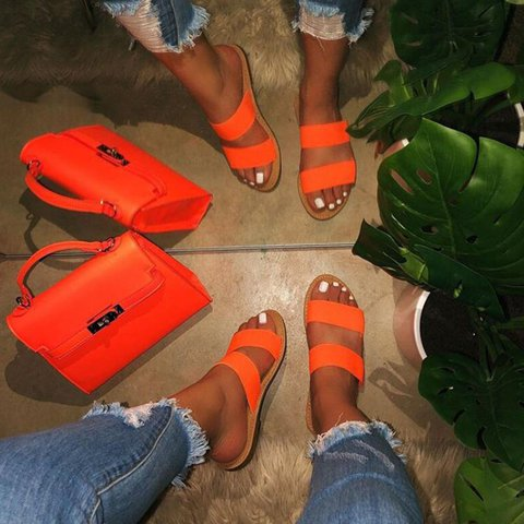 Women Casual Summer Double Strap Flat Sandals