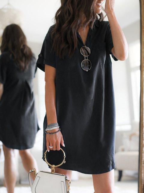 Short Sleeve Cotton-Blend Shift Plain Dresses